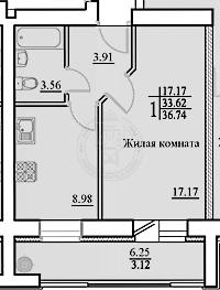Продажа 1-к квартиры Гвардейская ул, 52б