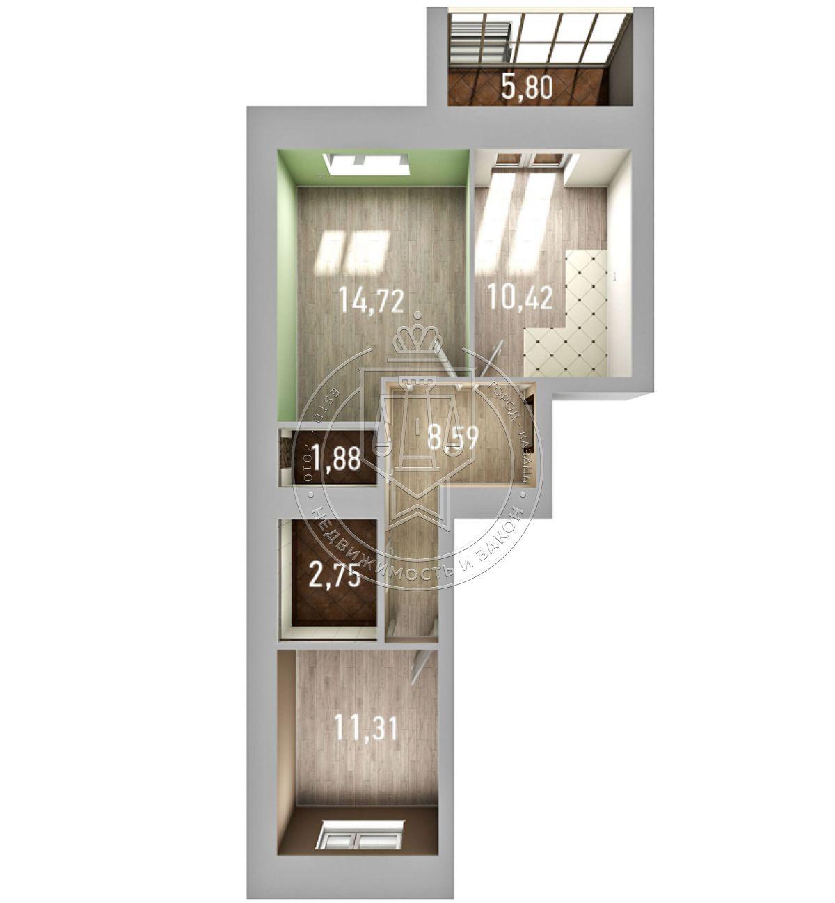 Продажа 2-к квартиры Азата Аббасова ул, строение 12